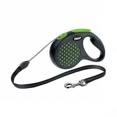 Laisse FLEXI DESIGN a pois vert avec cordon