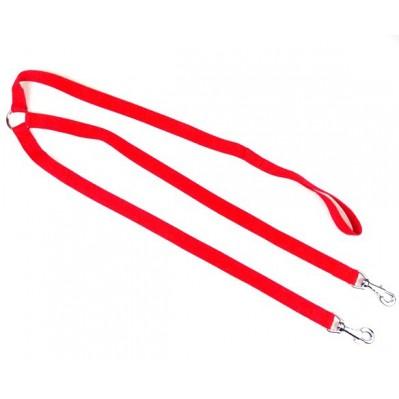 Laisse 2 chiens nylon classic 70 cm rouge