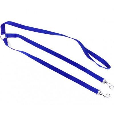 Laisse 2 chiens nylon classic 70 cm bleu