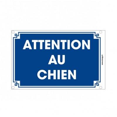 """Plaque """"Attention au chien"""" bleu"""