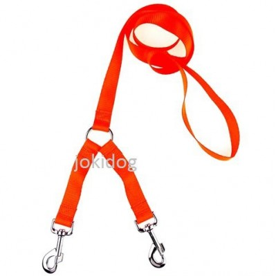 Laisse 2 chiens NYLON FLUO orange- destock